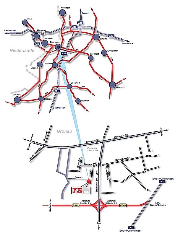 Anfahrtskarte zu TS Bau in Gronau